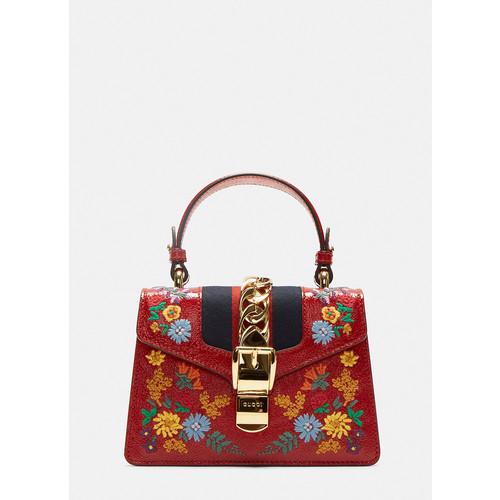 Mini Sylvie Embroidered Shoulder Bag in Red