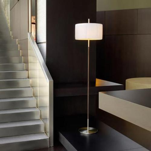 Danona Pie Floor Lamp [Light : Incandescent; Lamp Shade : Cotton; Finish\/Style : Satin Nickel]