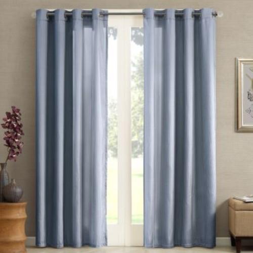 Madison Park Marin Solid Striped Window Curtain - 50'' x 84''
