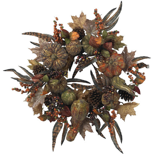 Nearly Natural 28 in. Artificial Wreath with Autumn Pumpkins, Berries, and Feathers