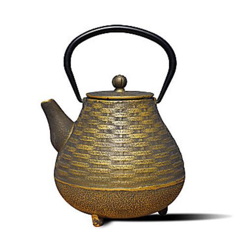 Dutch 41 Oz Black and Gold Cast Iron Orimono Teapot