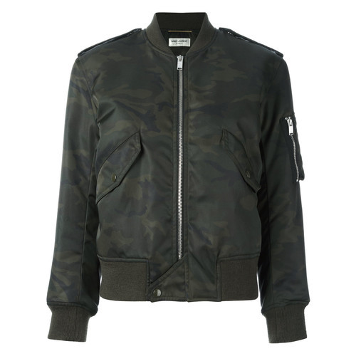 SAINT LAURENT Camouflage Print Army Bomber Jacket