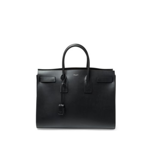 SAINT LAURENT Studded Strap Calf Leather Carryall Bag