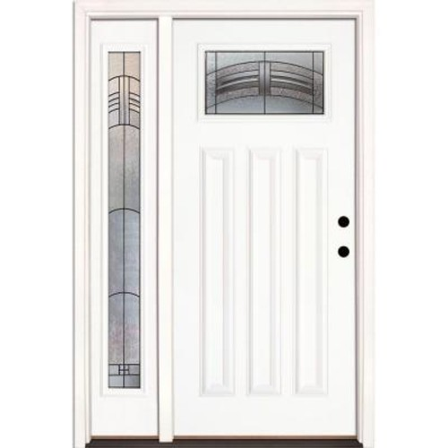 Feather River Doors 50.5 in.x81.625 in. Rochester Patina Craftsman Lt Unfinished Smooth Left-Hand Fiberglass Prehung Front Door w/ Sidelite