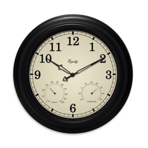La Crosse Technology Indoor/Outdoor Wall Clock with Temperature & Humidity in Black