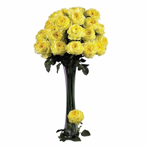 31 in. H Yellow Large Rose Stem (Set of 12)