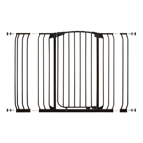 Dreambaby Chelsea 40 in. H Extra Tall and Extra Wide Auto-Close Security Gate in Black with Extensions