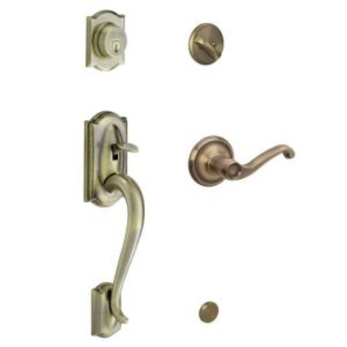 Schlage Camelot Single Cylinder Antique Brass Handle Set with Left-Hand Flair Lever