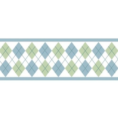 Sweet Jojo Designs Argyle Wallpaper Border in Blue/Green