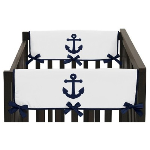 Sweet Jojo Designs Anchors Away Side Crib Rail Guard Covers (Set of 2) - Navy