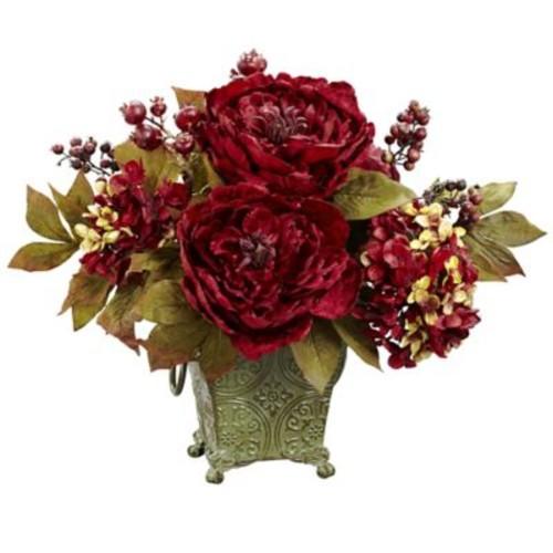 Astoria Grand Peony and Hydrangea Silk Flower Arrangement in Rustic Green Bucket
