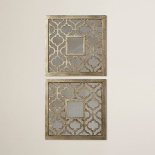 Mistana Square Silver Leaf Wall Mirror (Set of 2)