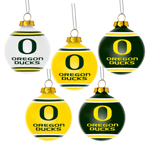 Forever Collectibles NCAA 5 Pack University of Oregon Ducks Shatterproof Ball Ornaments