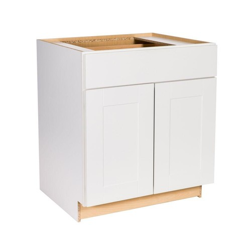 Hampton Bay Princeton Shaker Assembled 30x34.5x24 in. Base Cabinet with Soft Close Drawer in Warm White