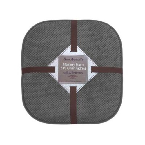 BounceComfort Bon Appetite 16 in. x 17 in. Dark Gray Memory Foam Cushioned Chair Pad (2-Pack)