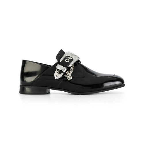 buckled chain embellished loafers