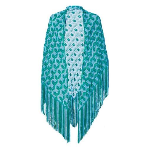 MISSONI Metallic Turquoise Triangle Fringe Shawl