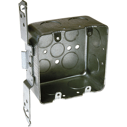 Raco 4 in. H Square 2 Gang Outlet Box 3/4 in. Gray Steel