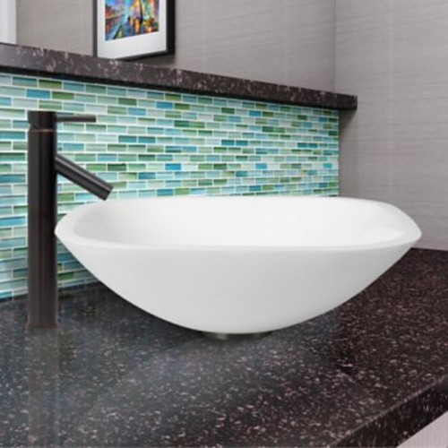 Vigo White Phoenix Stone Circular Vessel Bathroom Sink