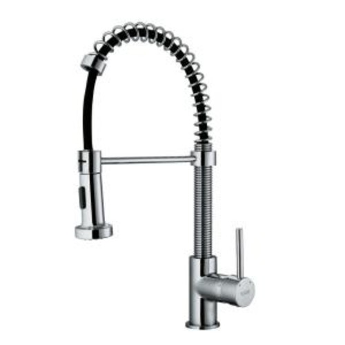 VIGO Edison Single-Handle Pull-Out Sprayer Kitchen Faucet with Deck Plate in Chrome