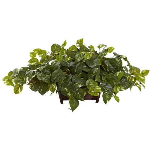 Nearly Natural Pothos w/Rectangle Decorative Planter Silk Plant