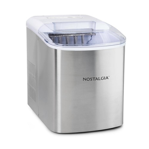 Nostalgia 26 lb. Stainless Steel Portable Ice Maker in Stainless