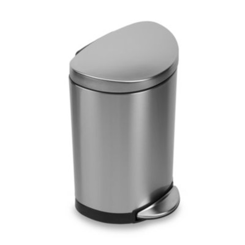 simplehuman Brushed Stainless Steel Fingerprint-Proof Semi-Round 10-Liter Step-On Trash Can