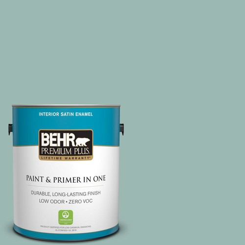 BEHR Premium Plus 1 gal. #PPU12-08 Opal Silk Satin Enamel Zero VOC Interior Paint and Primer in One