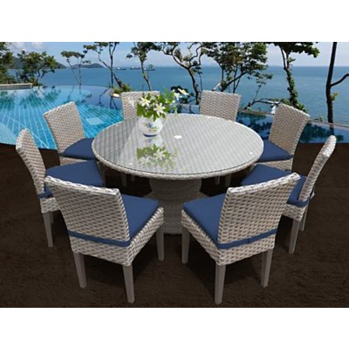 TK Classics Oasis 9 Piece Dining Set w/ Cushions; White