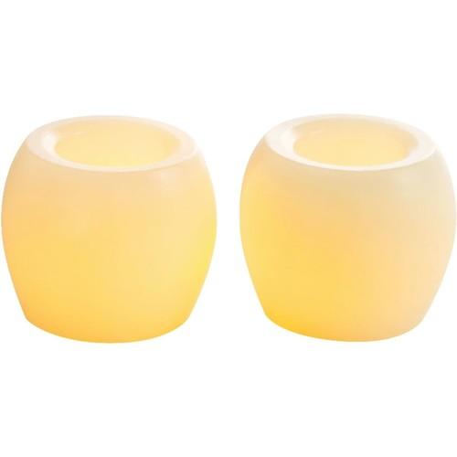 Inglow 2 In. Dia. Cream Wax Hurricane LED Flameless Candle