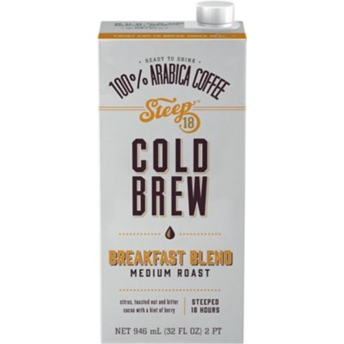 Steep 18 Breakfast Blend Shelf Stable Cold Brew Coffee, 32oz