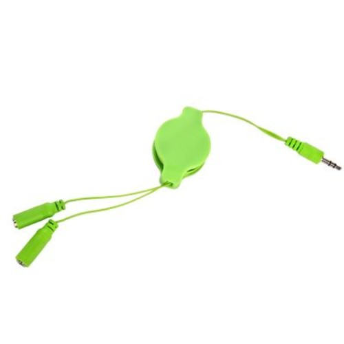 SumacLife Green Retractable 3.2 FT Headphone Splitter 3.5mm Male to 2 3.5 mm Female Cable