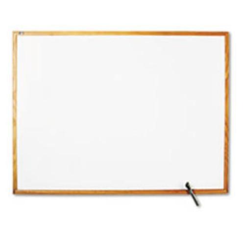 Quartet Standard Dry-Erase Board, Melamine, 48 x 36, White, Oak Finish Wood Fr