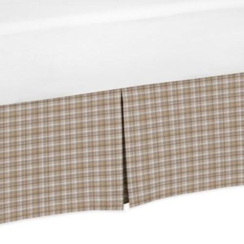 Sweet Jojo Designs All Star Sports Plaid Crib Skirt in Brown