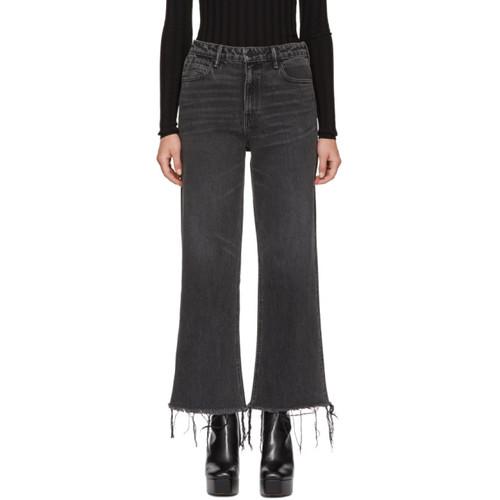 ALEXANDER WANG Grey Cropped Loose Kick Jeans