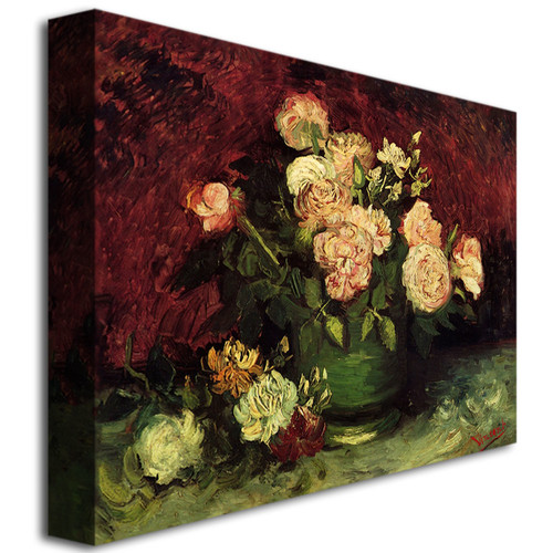 Trademark Global Vincent van Gogh 'Peonies and Roses' Canvas Art [Overall Dimensions : 14x19]