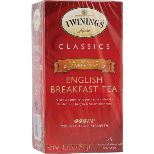 Twinings Classics Naturally Decaffeinated English Breakfast Tea -- 25 Tea Bags