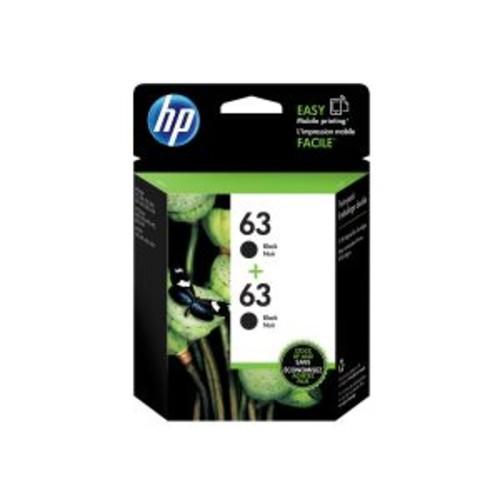 HP 63 - 2-pack - dye-based black - original - blister - ink cartridge - for Deskjet 1112, 2130, 3630; Envy 45XX; Officejet 3830, 46XX