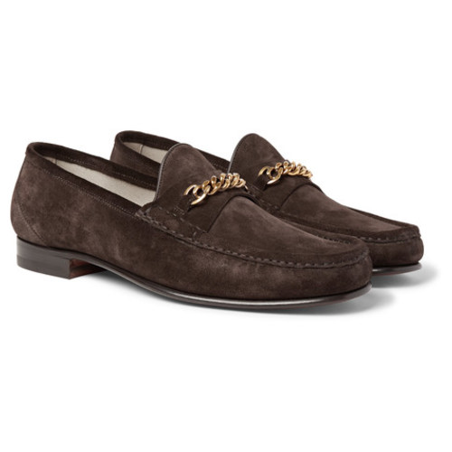 TOM FORD - York Chain-Trimmed Suede Loafers