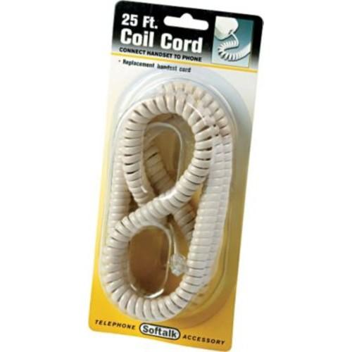 Softalk Coiled Phone Cord, Plug/Plug, 25ft., Ivory