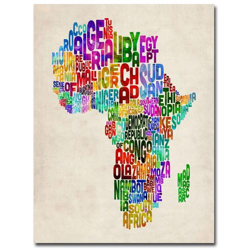 Trademark Global Michael Tompsett 'Africa Text Map' Canvas Art [Overall Dimensions : 18x24]