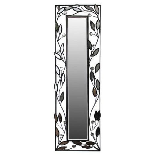 Wall Mirror-Rectangle with Leaves - Black/Silver - Home Source