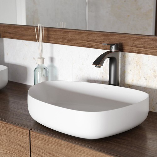 VIGO Peony Matte Stone Vessel Sink in White with Linus Vessel Faucet in Antique Rubbed Bronze