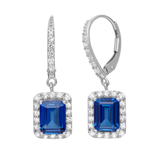 Sterling Silver Lab-Created Blue Sapphire Drop Earrings - JCPenney