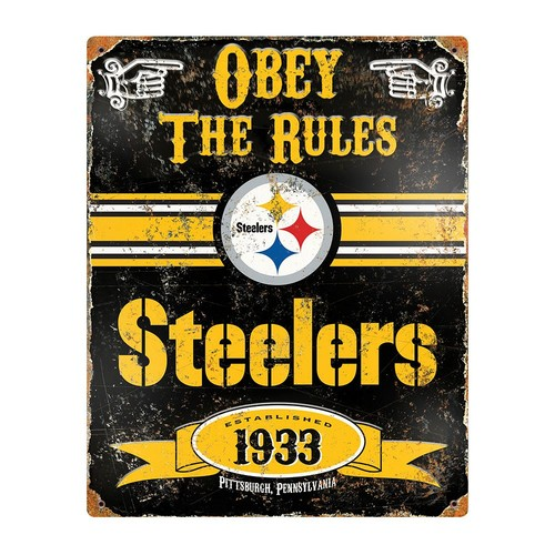 Party Animal Pittsburgh Steelers Embossed Metal Sign