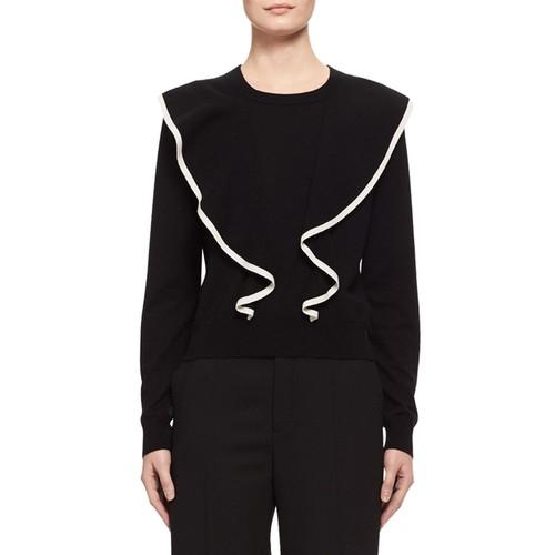 CHLOE Ruffle-Front Cashmere-Cotton Sweater, Black/White