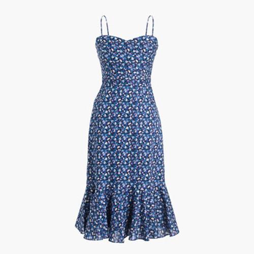 Tall ruffle-hem midi dress in Liberty Sarah floral