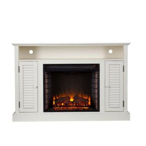 Southern Enterprises Gabriella 48 in. Freestanding Media Electric Fireplace TV Stand in Antique White