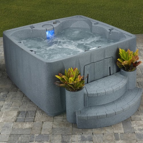 AquaRest Stainless Steel 6-person, 19-jet Spa with Ozone, Heater, and LED Waterfall
