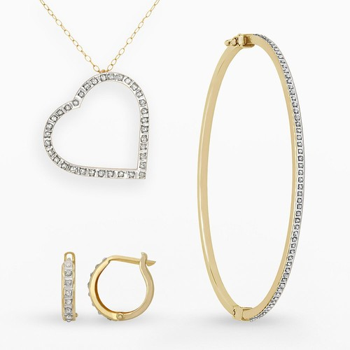 Diamond Fascination 14K Yellow Gold Diamond Accent 3 Piece Set - Heart Pendant w/ 18 Inch Chain - 7 Inch Bangle - Hinged Hoop Earrings